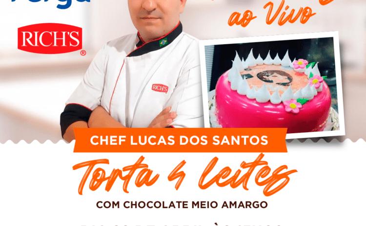 Torta 4 leites com Chocolate Meio Amargo